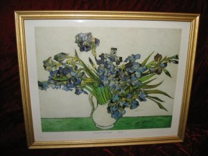 Vincent Van Gogh Irises Gold Wooden Framed Art Print Poster Vase