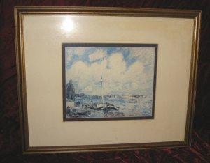 Marvelous Sailboat at Harbor Wooden Framed Art Print Poster Impressionist