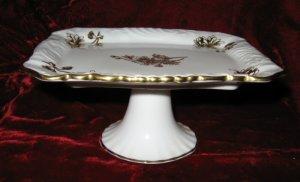 Vintage Hammersley & Co Bone China Gold Pedestal Rectangular Compote England