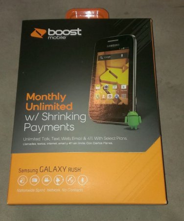 NIB Boost Mobile Samsung Galaxy Rush No Contract Android Cell Phone
