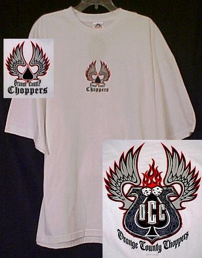 New OCC Orange County Choppers White Motorcycle Dice T-shirt 3X 3XL Big Tall Mens Clothing 410811-2