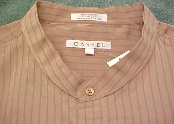 Cassel Camel Band Collar Long Sleeve Shirt Size 3X Urban Fashions Big Tall Mens Clothing 803051-2