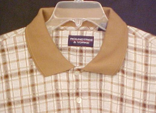 New Polo Style Shirt Pull Over Collar Tan Plaid 4XL 4X Big Tall Mens Clothing 803351