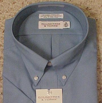 New Dress Shirt Blue Short Sleeve Size 18.5 TALL Men's Clothing 811674-6