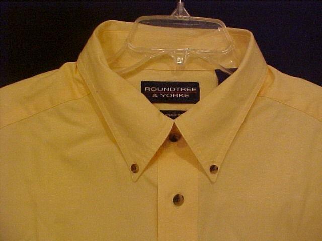 Big Mens Button Down Casual S/S Yellow Shirt Size 2X 2XL 2XB - 914991