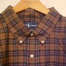 Brown Plaid Button Down Shirt Ralph Lauren Long Sleeve 5X 5XL 5XB Big Tall Mens Clothing 920941