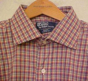 Purple Plaid Polo Ralph Lauren Button Shirt Long Sleeve 4X 4XL 4XB Big Tall Mens Clothing 921061