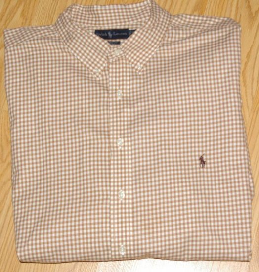 Tan Gingham Ralph Lauren Button Down Shirt Long Sleeve 3X 3XL 3XB Big Tall Mens Clothing 921271