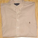 Tan Gingham Ralph Lauren Button Down Shirt Long Sleeve 5X 5XL 5XB Big Tall Mens Clothing 921301