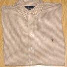 Tan Gingham Ralph Lauren Button Down Shirt Long Sleeve 5X 5XL 5XB Big Tall Mens Clothing 921301