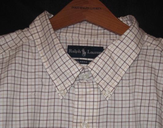 Cream Plaid Ralph Lauren Button Down Shirt Long Sleeve 3XT 3XLT 3LT Big Tall Mens Clothing 921591