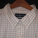 Cream Plaid Ralph Lauren Button Down Shirt Long Sleeve 5X 5XB 5XL Big Tall Mens Clothing 921621
