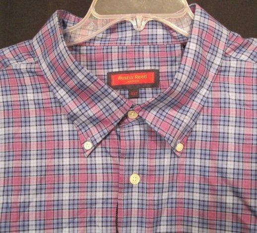 Austin Reed Button Front Short Sleeve Shirt Size 4XT 4XLT Big Tall Men's Clothing 922951