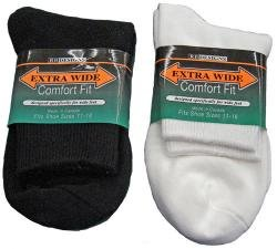 WHITE Extra Wide Athletic Quarter Socks Size 11 - 16 Stretch 8600-1116-WT