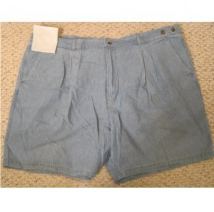 NEW Chambray Blue Shorts Size 54 Big Tall Mens Clothing 927521
