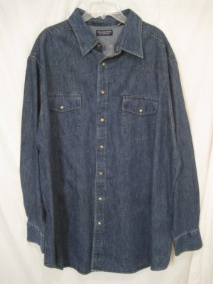 Denim Button Down Shirt Long Sleeve Western 3XLT 3XT Big Tall Mens Clothing 938181 2