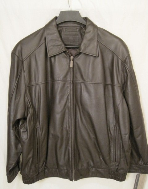 New Brown Leather Winter Bomber Jacket Size 3x Big Tall