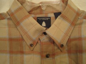 Tan Flannel Button Down Shirt Long Sleeve XLT Big Tall Mens Clothing 938521