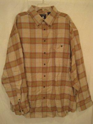 Tan Flannel Button Down Shirt Long Sleeve 2XLT 2XT Big Tall Mens Clothing 938541 2