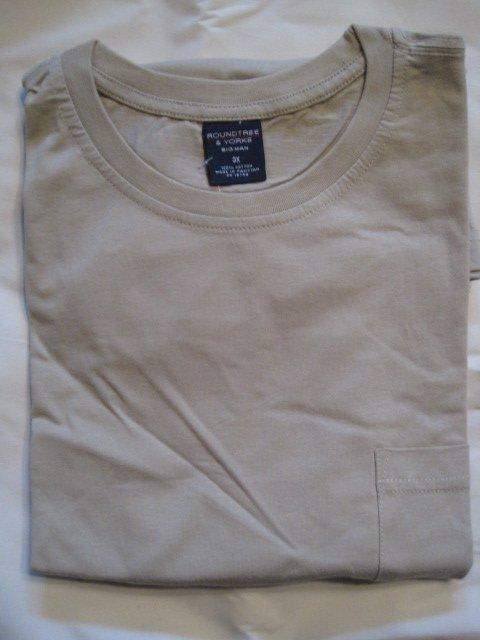 NEW Tan Pocket T-Shirt Short Sleeve Size 3XLT 3XT Big Tall Men's Clothing  925611