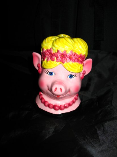 Clay Art Pig In a Wig Salt and Pepper Shakers