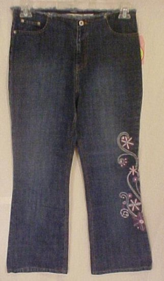 New Denim Embroidered Jeans Girls Plus Size 14.5 Plus Size Girls Wear 400021