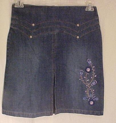 New Denim Jean Embroidered Skirt Girls Plus Size 14.5  Plus Size Girls Wear 400071-2