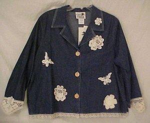 New 2pc Crochet Denim Jean Dress Jumper Jacket 2X 18 20 Plus Size Women Clothing H400471