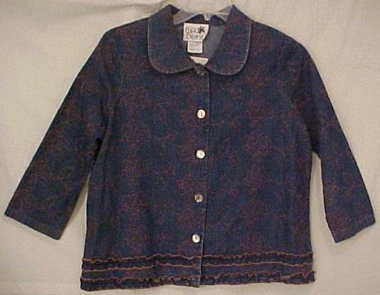New 2 pc Embrodiered Denim Jean Dress Jumper Jacket 1X 14 16 Plus Size Women Clothing H400491-4