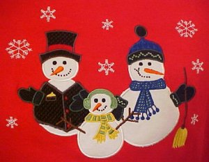 New Winter Christmas Snowmen Red Pull Over Long Sleeve Shirt Size 1X Plus Size Women Clothing 400641