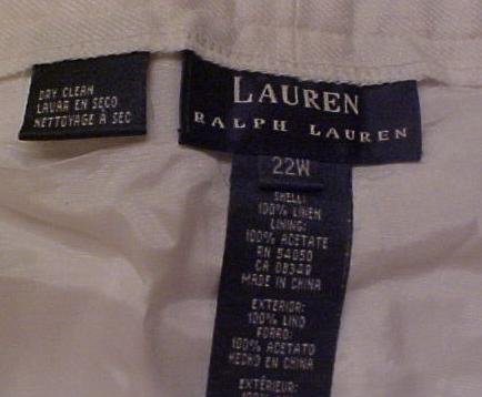 New Ralph Lauren White Linen Pants 22W Plus Size Women Clothing 400741