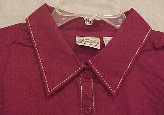 New Long Sleeve Button Down Shirt Collar Size 2X Plus Size Women Clothing 811021-2