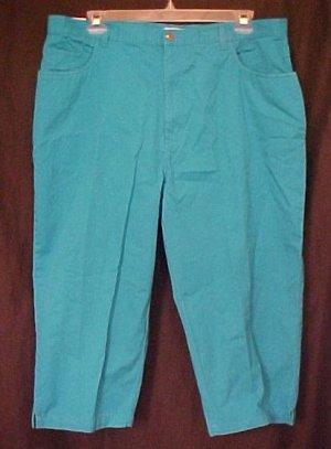 New Teal Blue Capri Pants Size 22W 22 Plus Size Clothing 811291