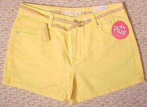 New Arizona Yellow Shorts Size 16.5 16+ Plus Size Girls Fashions 200461-2