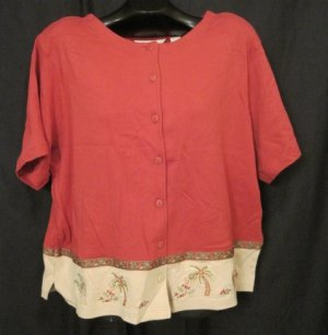 New Bechamel Size 2X Shirt Jungle Beat Collection Rust Color  Plus Size Women's Clothing 202311