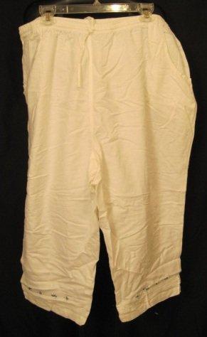 New Size 24W White Capri Pants Plus Size Women's Clothing 202291