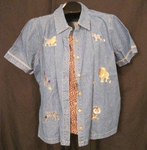 New Size 18W Button Front Jungle Shirt Plus Size Women's Clothing 202281