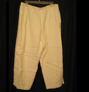New White Linen Pants Size 20W Due per Due Plus Size Women's Clothing 202191