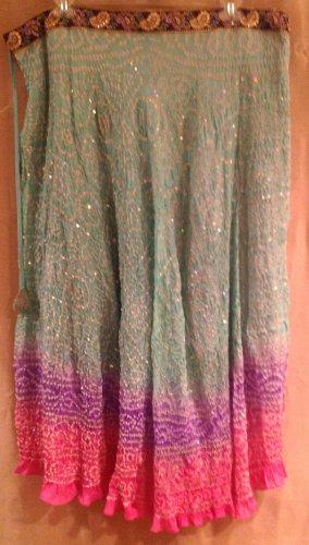Kas Designs Silk Beaded Skirt Blue Pink Size 3X Plus Size Women Clothing 015