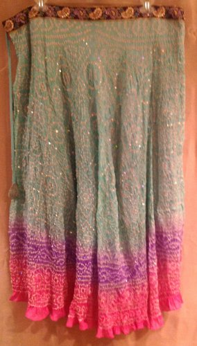 Kas Designs Silk Beaded Skirt Green Purple Pink Size 2X Plus Size Women Clothing 014