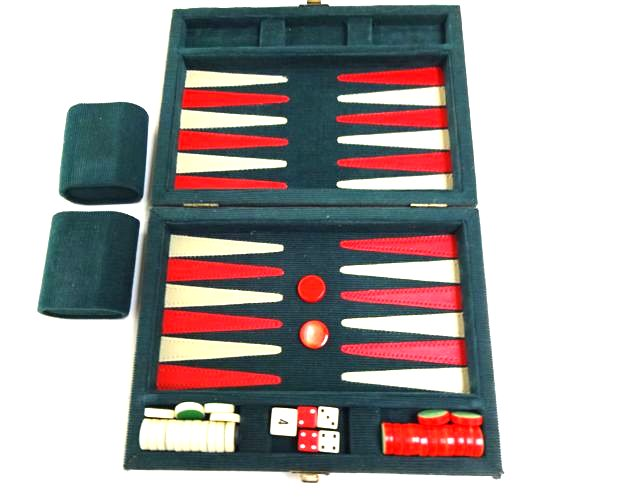 Vintage Compact Traditional British Style Backgammon 1950s or 1960s set - velvet and leather