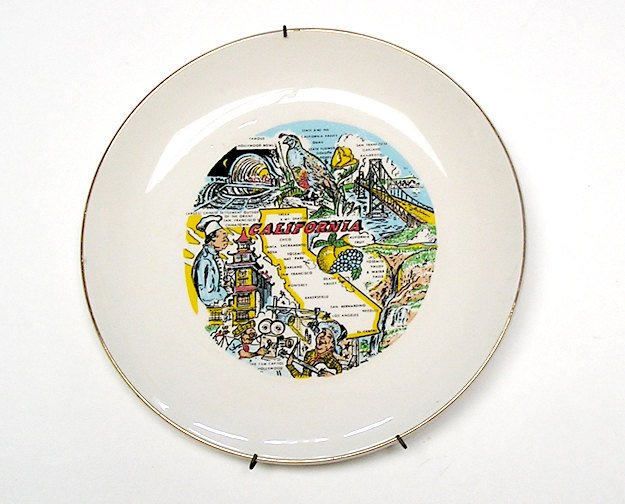 State Plate California Vintage Souvenir early 1970s, Americana, Collectible Plate