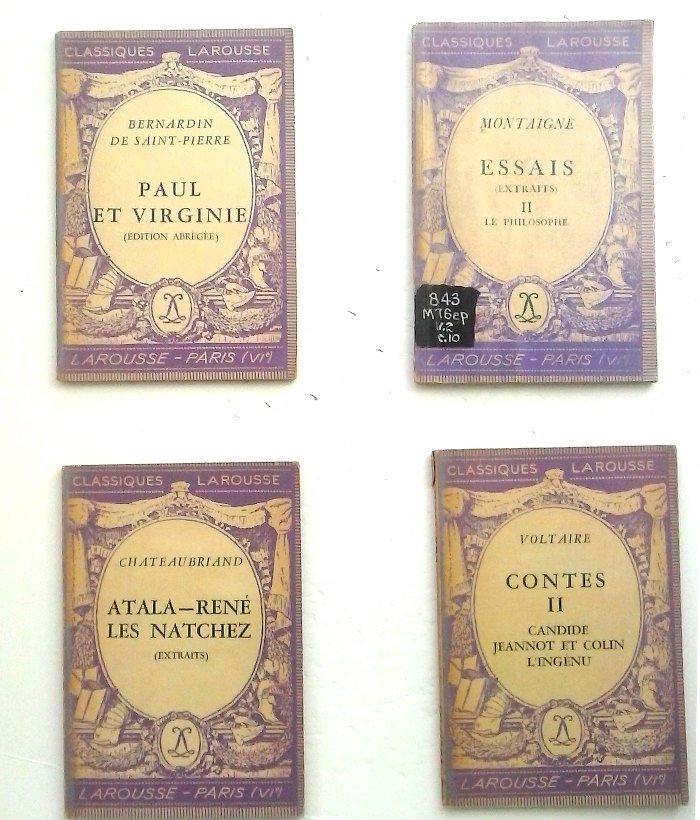 Paul et Virginie, Atala-René Les Natchez, Le Philosophe by Montaigne. Voltaire Contes, French Text,