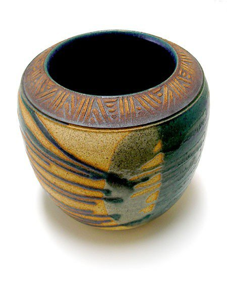 Retro Clay Pottery with Abstract Green and Blue Glazes, Local California Artisan.