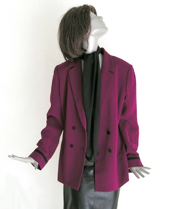 Retro Jacket, Vintage 1980s Jacket, Like New Suit, Dark Magenta Jacket, Size 10, Kasper.