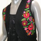 Hungarian Vest, Matyo Kalotaszeg Embroidery, Short Black Wool Vest hand embroidered, Ethnic 1970s.