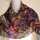 Sheer Multicolor Scarf , Chiffon Georgette, Handmade Wrap, Poly Print Scarf,