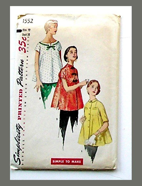 Maternity Sewing Pattern Top Blouse, VINTAGE Size 12 Bust 30, Simplicity 1552, Tunic Baby Doll.