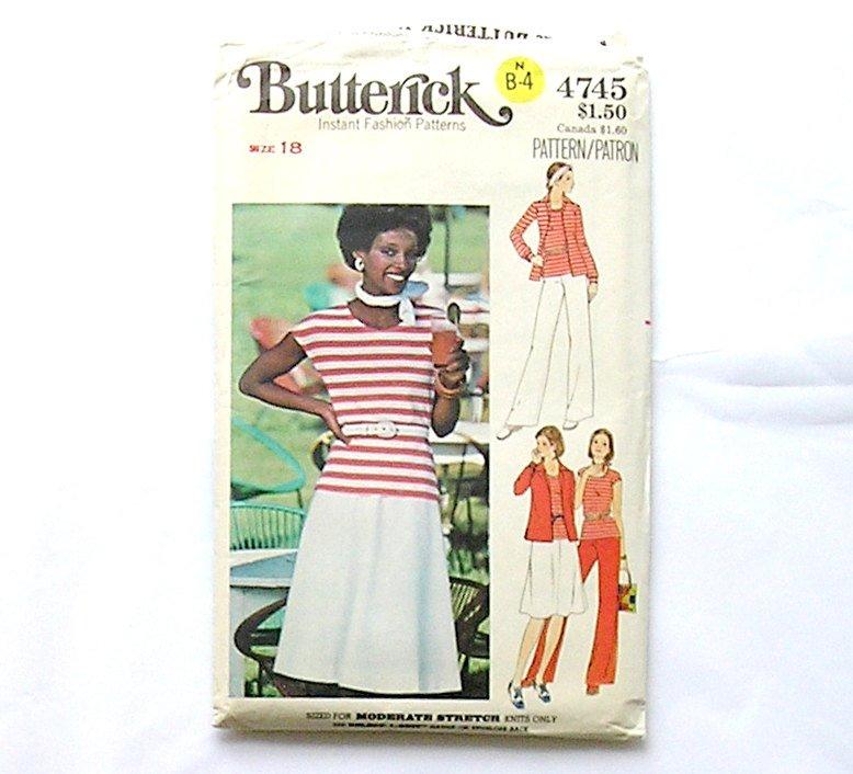 Butterick 4745 Sewing Pattern, Skirt Pants Misses Shirt t-Shirt Size 18, 1980's Fashion