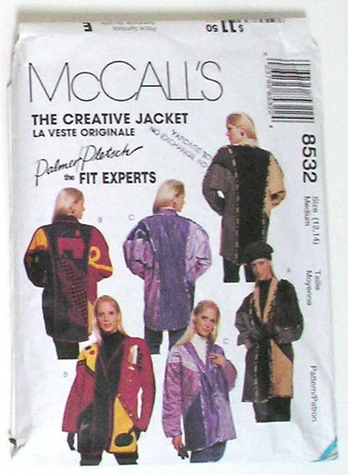 The Creative Jacket McCalls 8532 - Retro 1980s Sewing Pattern - Size 12,14